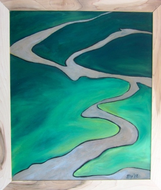 """Muddy River"" Acrylic on Woodburned panel. $135"