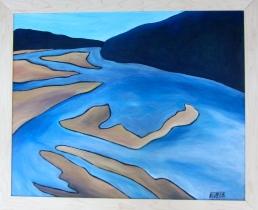 """Sandbars"" Acrylic on Woodburned Panel $150"