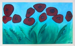 """Poppy Field"" Acrylic on Woodburned Panel $335"