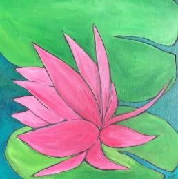 """""""Sideways Lily"""" Acrylic on Wood Panel, framed 10x10"""" $80"""