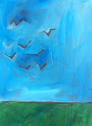 """""""Birds"""" Acrylic on Wood Panel, framed 7x9"""" $50"""