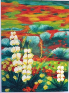 """Blooming Konza"" Acrylic and oil bar on canvas $575"