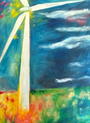"""Farming Wind"" Acrylic on Canvas, 33x45"" $525"