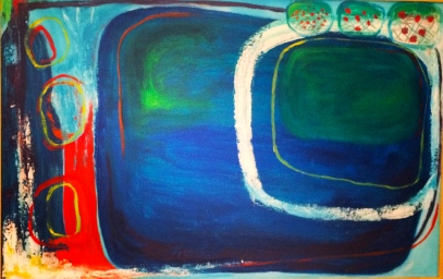 """Skipping Pebbles"" Acrylic on Canvas, framed 35x23"" $425"